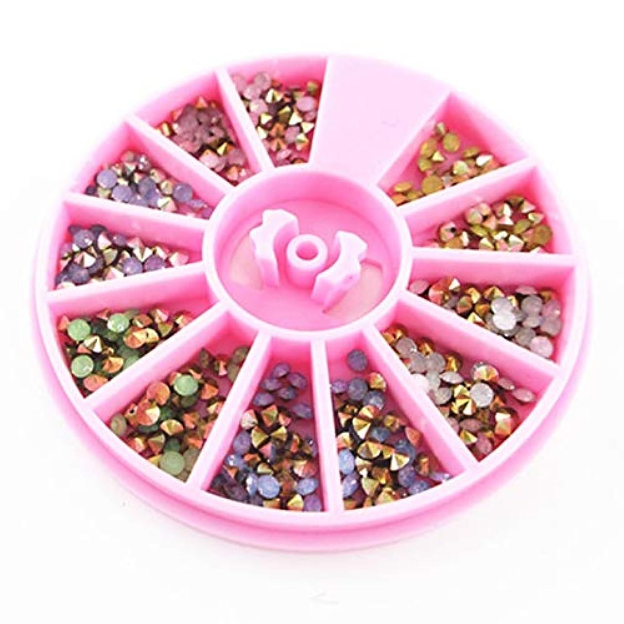 足音残る瞑想Quzama-JS 2.5 mmのカラフルな鋭い底ラインストーン3 D釘芸術装飾オパール釘を満たすこと(None Pink bottom)