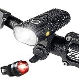 自転車 ライト、USB 充電式 LED 自転車 ヘッドライト、800ルーメン、5点灯モード懐中電灯 - 夜間乗り/キャンプ/ウォーキングドッグに最適