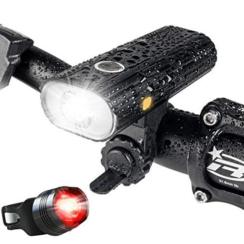 自転車 ライト、USB 充電式 LED 自転車 ヘッドライト、800ルーメンフロントライト、5点灯モード懐中電灯 - 夜間乗り/キャンプ/ウォーキングドッグに最適