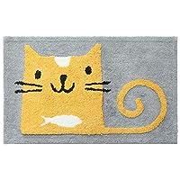 カーペット かわいい漫画猫プリントノンスリップ吸収ドアマット入り口敷物カーペットシューズスクレーパードアマット用エントランスフロントドアホームオフィスキッチンエントランスマット 自宅のカーペットに適しています (色 : グレー)