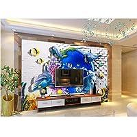 Hhkkck 3D壁壁画壁紙用リビングルームの壁3 D写真壁紙オーシャンワールドイルカレンガ壁ホームデコレーション-120X100Cm