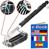 Premiala BBQ Brush - Australia's Own! 100% Stainless Steel Bristles AND Frame - NEVER rusts! V2 scraper for Wide & Narrow grates! Keeps barbecue & smoker grates hygienic, clean & safe! Waterproof, dishwasher safe, food-safe, bristles don't fall out! AU seller!