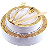 Gold Plastic Plates with Gold Plastic Silverware, Lace Design Plastic Plates, Disposable Party Plates Include 30 Dinner Plates, 30 Salad Plates, 30 Forks, 30 Knives, 30 Spoons(Enjoylife) (Gold)