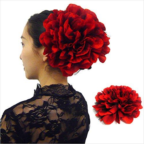 フラメンコ ダンス衣装に大きなコサージュ 赤ブラックレース...