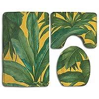 黄金の熱帯の葉トイレマット 3点セット 洗浄暖房用 トイレU型足元マット 長方形 バスマット トイレ蓋カバー フワフワ おしゃれ