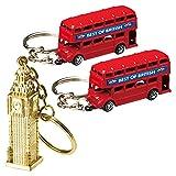 イギリスお土産 ロンドンバス&ビッグベン キーホルダー 3個セット