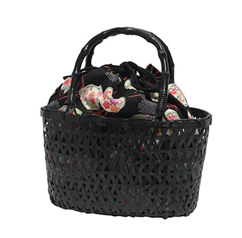 浴衣や夏の着物に似合う 巾着 竹かご 黒 バッグ 巾着取り外し可能