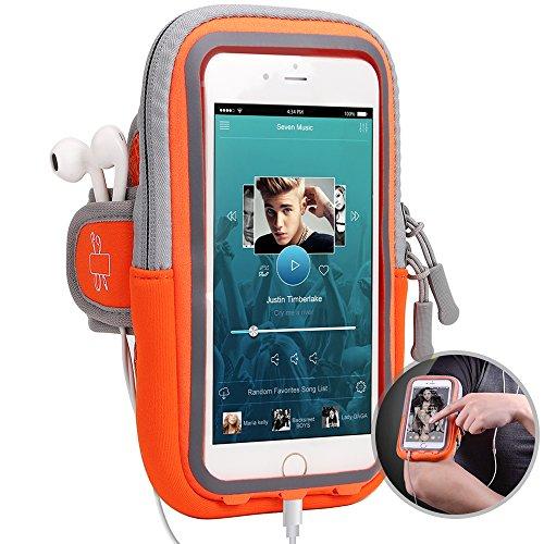 itDEAL 改良版 ランニング アームバンド スマホ スポーツ iPhoneX iPhone7 plus iPhone8 plus Galaxy S8 など6.0インチまでに対応 夜間反射 ケース スマホ タッチOK 防汗 軽量 調節可 通気性 小物収納 (オレンジ)