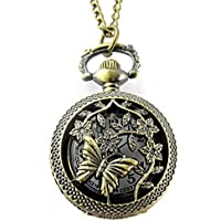 AU-FAFAFA Retro Butterfly and Flower Openwork Cover Quartz Watch Sweater Chain Pocket Watch