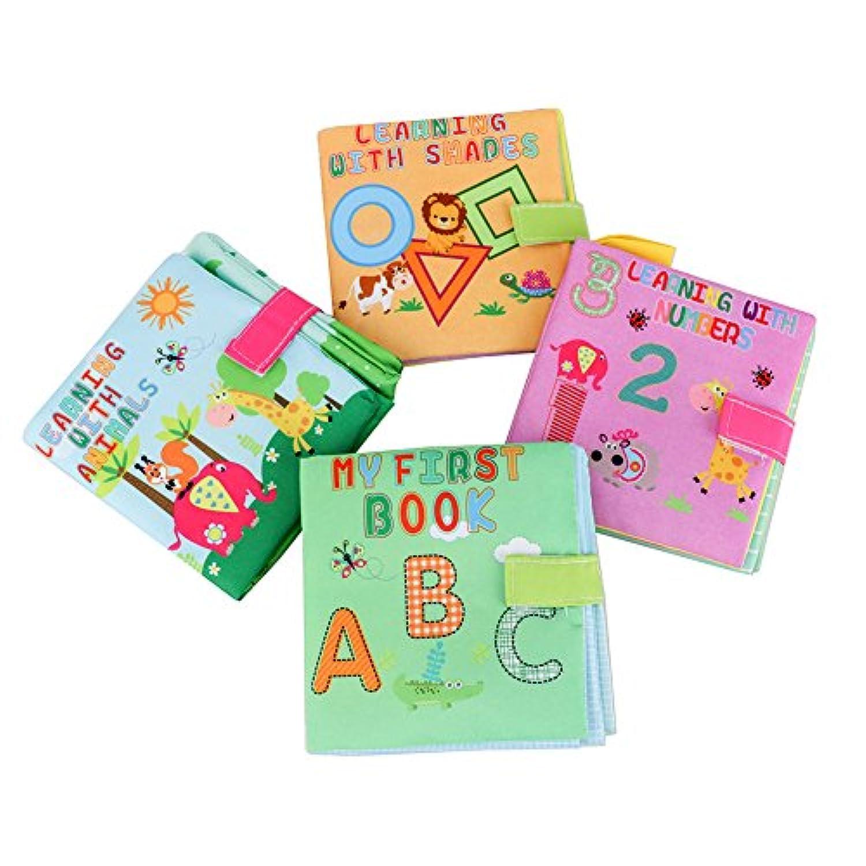 Youbedoソフトブック布ベビーブックBaby First Book非毒性子供教育おもちゃ – ABC &図形、数字、動物、4のパック