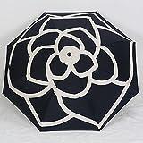 シャネル 折りたたみ傘 ポリエステル CHANベージュ×ブラック レディース カメリア マトラッセケース付 (ブラック)