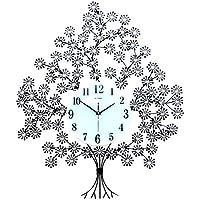 ALUP- 現代のクリスタルダイヤモンドの壁時計、豪華な木の形の壁時計サイレントメタル時計、ベッドルーム、ホームウォールアートデコレーション(ブラック) (色 : 普通の)