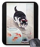 小原古邨『 猫と金魚鉢 』のマウスパッド:フォトパッド( 浮世絵シリーズ )