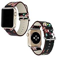 Sasairy Apple Watch 用バンド 高級PUレザーバンド 中国風 交換用アクセサリーリストバンド 上品 柔らか 脱着簡単 レザーストラップ 耐久性 男女兼用 全5色