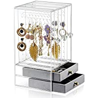 Sooyee Acrylic Earring Holder and Jewelry Organizer with 5 Drawers,Dustproof Jewelry Rack Display Classic Stand for Necklaces Bracelet Earrings and Ring,Clear