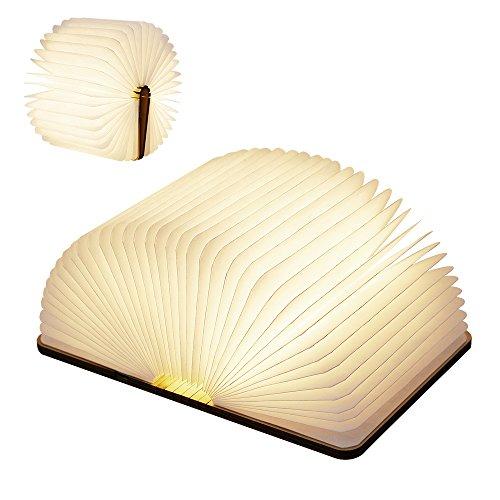LEDベッドサイドランプ ブックライト ブックランプ 木製折畳み式テーブルランプ インテリア 雰囲気...