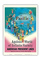 太平洋を発見 - アメリカンプレジデントラインズ - 無限の多様性のエイジレス世界 - ビンテージな遠洋定期船のポスター によって作成された ルイ・マクィヤール c.1958 - アートポスター - 33cm x 48cm