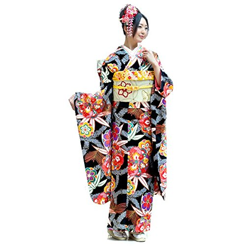(京都九重) 振袖 ブランド【黒地に松竹梅 花文】日本製 洗える着物 仕立て上がり