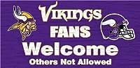 "Minnesota Vikings Wood Sign–ファンWelcome 12"" x6"""