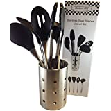 Checkered Chef Stainless Steel and Silicone Kitchen Cooking Utensil Set with Metal Holder, Six Piece Set