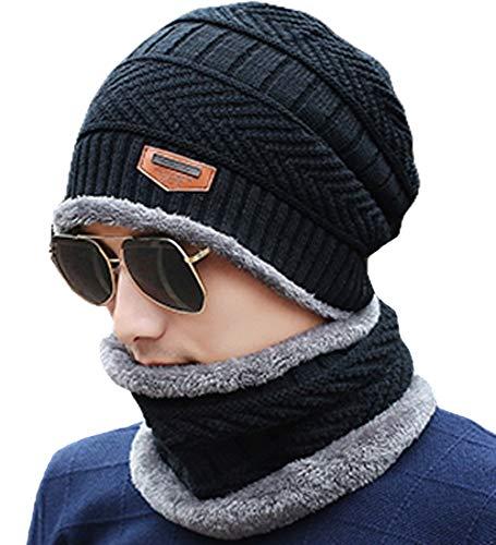 T-wilker ニット帽 裏起毛 マフラー付き ネックウォーマー 2点セット フリーサイズ帽子 防寒 暖かい スキー 通勤 通学 秋冬 ゆったり ニットキャップ 男女兼用 (ブラック)