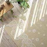 洗える 防ダニ 抗菌 花柄 が かわいい ラグ カーペット ( コペン 190x190 cm ベージュ ) 約 2畳 床暖房対応 ホットカーペット対応
