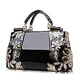レディースファッションパテントレザーハンドバッグ、ショルダーバッグ,肩掛け トート ハンド バッグ,大容量 通勤、パーティー、ディナ..
