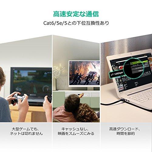 『UGREEN LANケーブル カテゴリー7 RJ45 コネクタ ギガビット10Gbps/600MHz CAT7準拠 イーサネットケーブル STP 爪折れ防止 シールド モデム ルータ PS3 PS4 Xbox等に対応 3M』の2枚目の画像