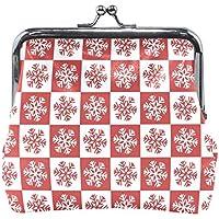 がま口 財布 口金 小銭入れ ポーチ クリスマス 雪 赤 Jiemeil バッグ かわいい 高級レザー レディース プレゼント ほど良いサイズ