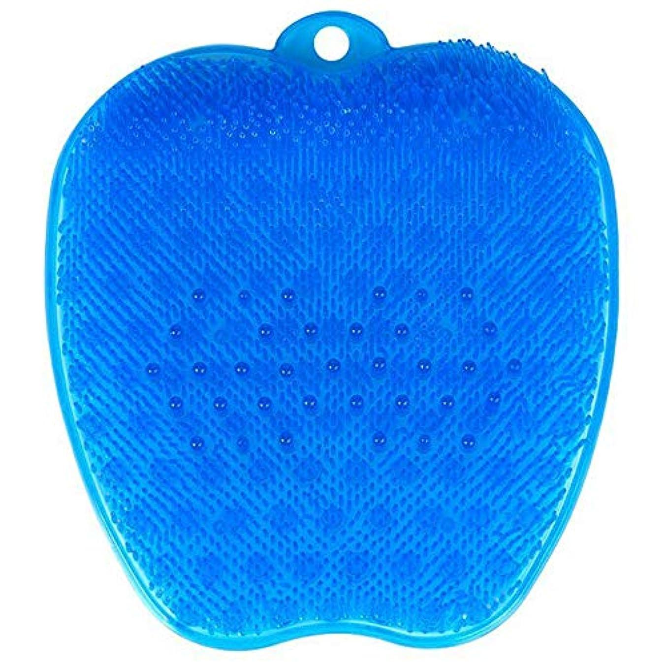予知たるみアイデア足洗いブラシ 滑らない吸盤付き ブルー フットケア フットブラシ 角質ケアブラシ お風呂で使える