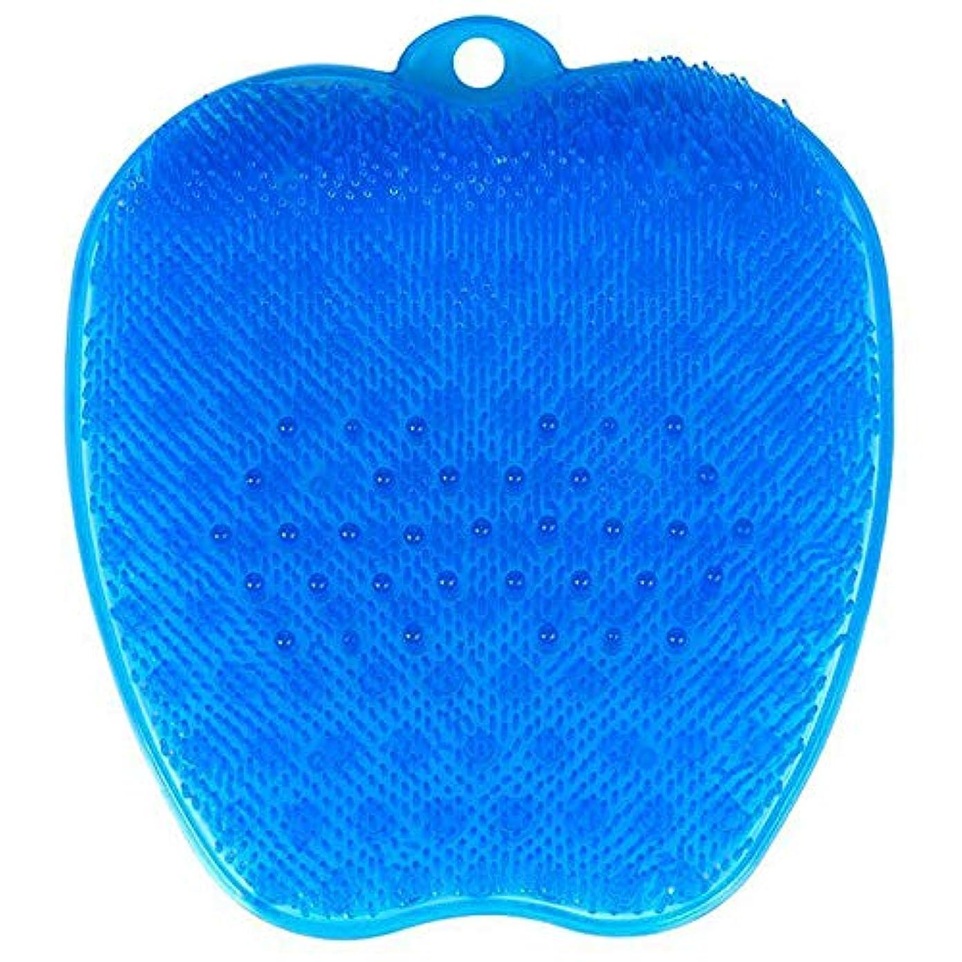 暖かさ報奨金特徴足洗いブラシ 滑らない吸盤付き ブルー フットケア フットブラシ 角質ケアブラシ お風呂で使える