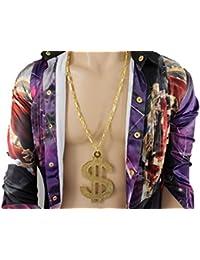 TFjメンズファッションネックレスゴールドメタルチェーンHuge Sparklingドル記号ペンダントMoney $ヒップホップ