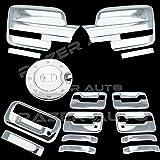 09–14フォードf150トリプルクロムメッキミラーカバー( Does Not Fit On Towingミラー、4ドアハンドルカバーキーパッドとずでPassenger鍵穴、テールゲートハンドル、ガスドアカバー