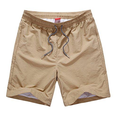 (オチェーンタ)OCHENTA メンズ 速乾軽量 ジムウェア スポーツ ランニング フィットネス ポケット 短パン ショートパンツ アウトドア ショーツ カーキー L