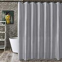 Dehome シャワーカーテン お風呂用 速乾 目隠し 防カビ 防水 防寒 保温 高級感あり リング付き 120x180cm グレー