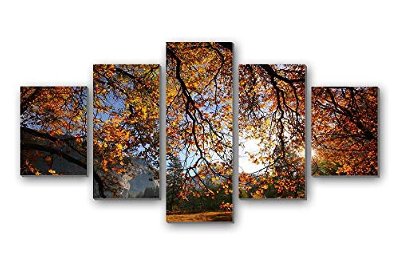 占めるに沿って斧5枚 アートパネル 完成品( 秋、木、枝、葉、日光 ) モダン 特大 写真 アートフレーム 絵画 壁飾り キャンバス絵画 パネル装飾画(木枠付きの完成品)