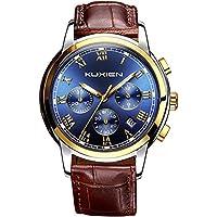 メンズウォッチ、メンズクォーツウォッチ、 KUXIEN 高級メンズレザーストラップビジネスアナログ腕時計、防水クロノグラフミリタリーウォッチクラシック日付ウィンド