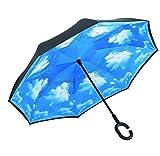 Cosy Zone 逆さ傘 二重層 UVカット 遮熱遮光 撥水加工 晴雨兼用 離れC型手元 男女兼用