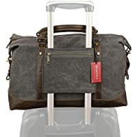Weekender Duffel Bag Travel Tote - Canvas Genuine Leather Overnight Bag