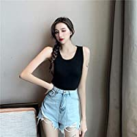 HJJUANAU Knit Vest With Cross Strap Sleeveless T-shirt (Color : Black, Size : Free Size)
