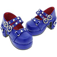 Releaserain ドール靴 1/3 球体関節人形 BJD 人形 SD DD用 手作り製 ドール 用 ハイヒール 靴 ダブルストラップ スタッズ メリージェーン シューズ ロイヤルブルー色