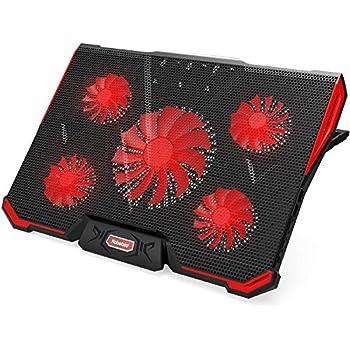 Nobelbird 冷却ファン ノートパソコン 冷却パッド 冷却台 ノートPCクーラー クール 超静音 7段階角度調整 スタンド 折りたたみ 五つ冷却ファン 2口USBポート 17インチ型まで対応 ps3 ps4 冷却 LED搭載 風量調節可