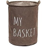 Aiqyi 折り畳み ランドリーバスケット衣類 小物 おもちゃの収納ボックス 水汲み 軽量 丈夫 便利 おしゃれ脱衣カゴ (コーヒー)