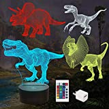 FULLOSUN Dinosaur Bedside Lamp, 3D Hologram Illusion Night Light for Kids (4 Patterns) with Remote Control 16 Colors Changing Dimmable Function, Cool Christmas Birthday Gifts for Boys Child