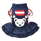 【Ani Mam Kids】おんぶ クマさん が とっても キュート な オーバーオール スーカート つなぎ 犬 服 ドッグ ウエア 小型犬 ペット服 ペットウェア (M, レッド(スカート))