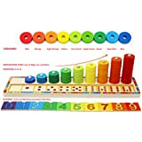 Toys of Wood Oxford Wooden Stacking Rings and Counting Game with 45 Rings - Counting Ring Stacker for 3 Year Old