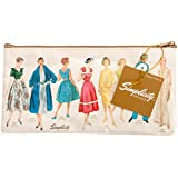 Simplicity Vintage 30's to 70's Large Ivory White Travel Makeup Bag or Sewing Kit Pouch