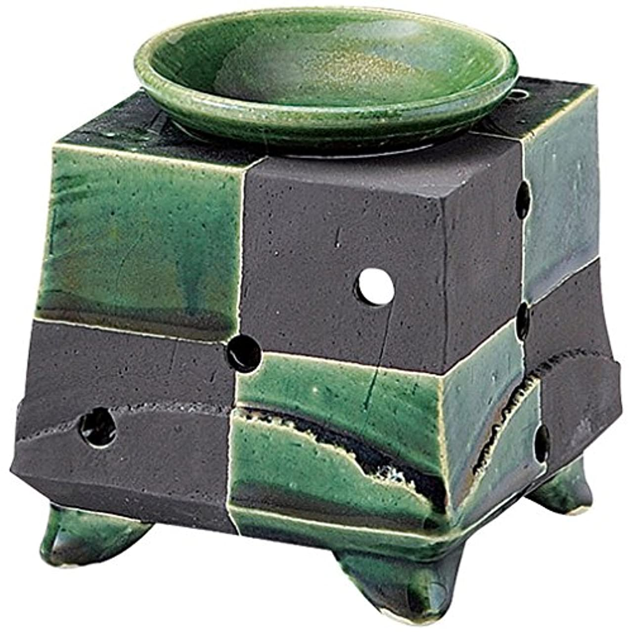 チャンス変色する踏みつけ山下工芸 常滑焼 佳窯織部黒市松茶香炉 11.5×11.5×11.5cm 13045770