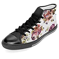 [イーピン天城] Vintage Floral Pattern ハイカット メンズブーツ 紳士靴 ショートブーツ ワークブーツ アウトドアシューズ フラットシューズ カジュアルシューズ レースアップ スニーカー 春 秋 おしゃれ Black 44