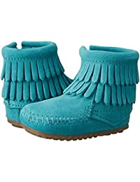 (ミネトンカ) MINNETONKA ベビーブーツ?靴 Double Fringe Side Zip Bootie (Infant/Toddler) Turquoise 4 Toddler (12cm) M